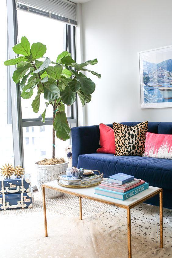 Sala moderna com sofá azul e almofada rosa