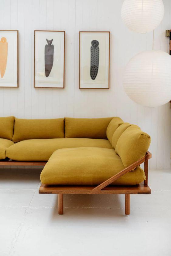Sofá rústico de canto