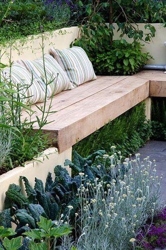 Sofá rústico de madeira em L