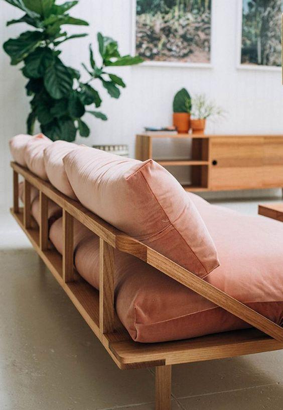 Sofá rustico de madeira