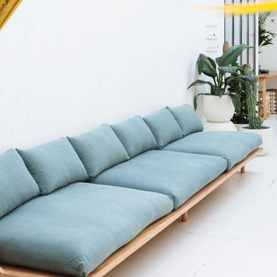 Sofá rústico azul para sala de estar moderna