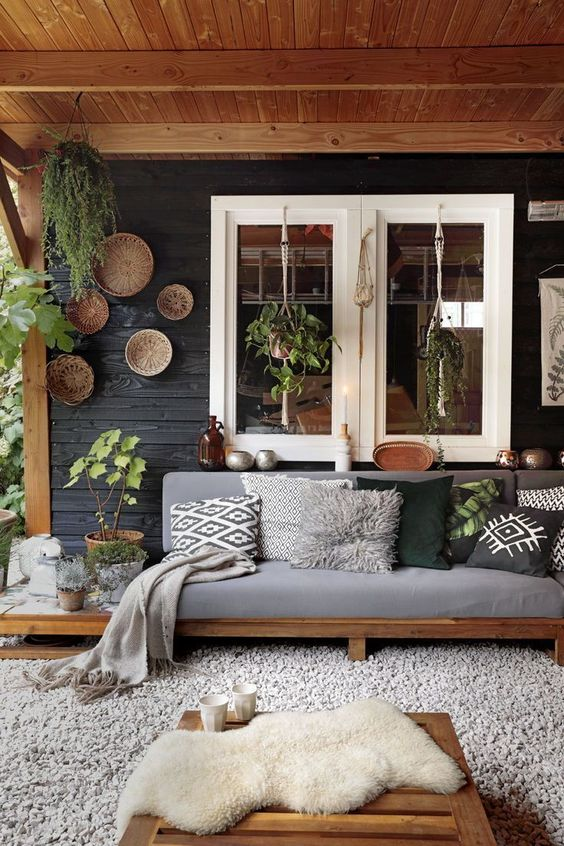 Sofá rústico de madeira