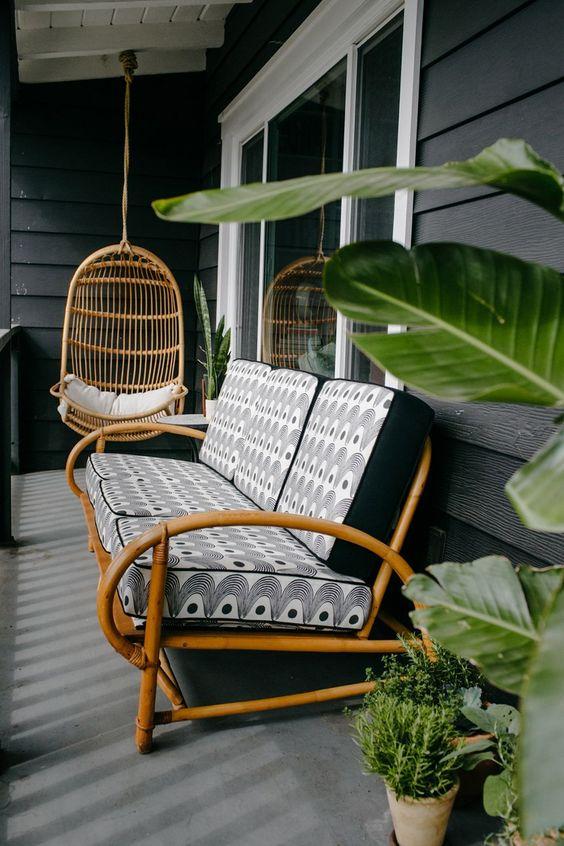 Sofá rustico para varanda charmosa