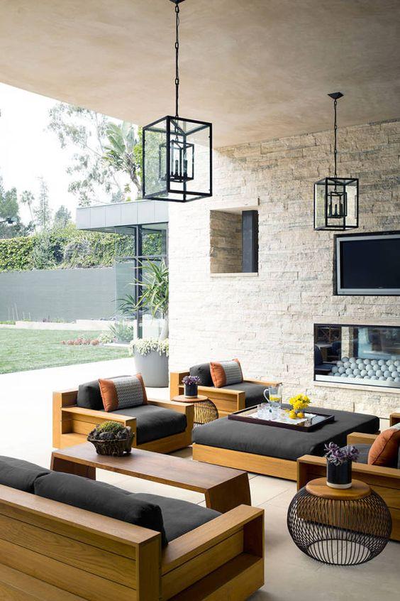 Sofá rústico para varanda decorada