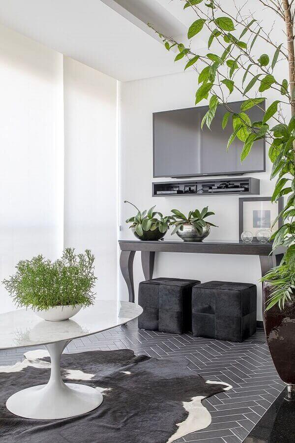 tapete de couro e vasos com plantas para decoração de sala moderna  Foto MIS Arquitetura e Interiores