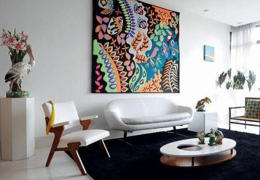 Tapete preto para sala de estar