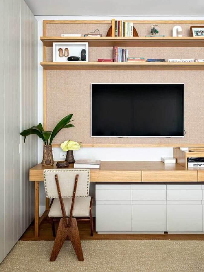 tapete sisal bege para decoração de sala de TV Foto Casa de Valentina