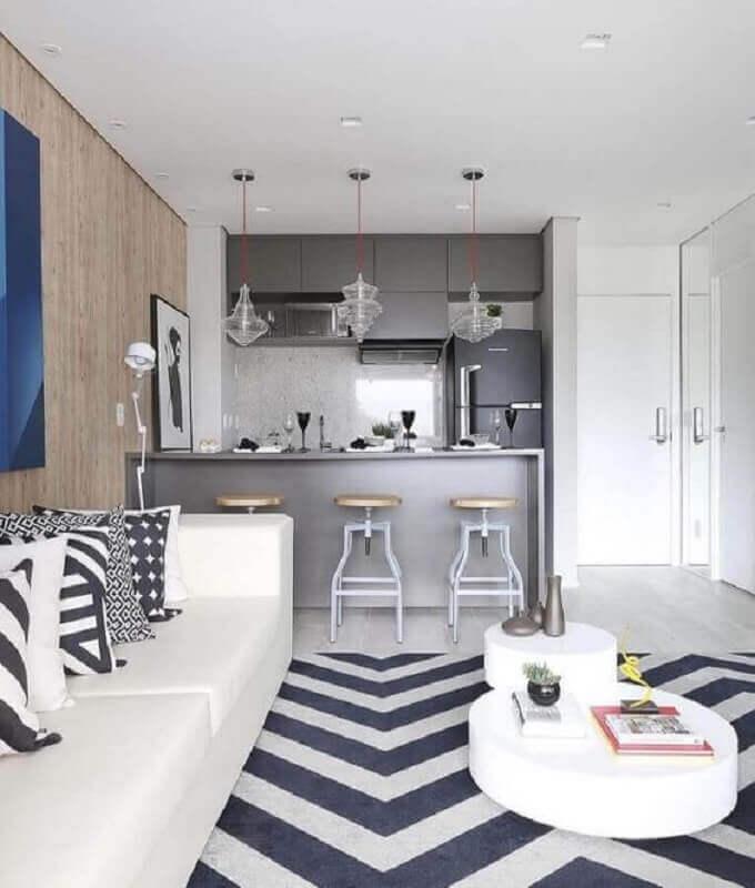 tendências de decoração para 2021 - sala e cozinha integrada pequena Foto Pinterest
