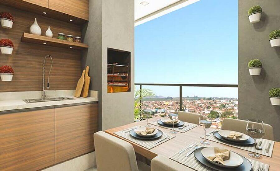 varanda gourmet pequena com churrasqueira em apartamento com decoração moderna  Foto Pinterest