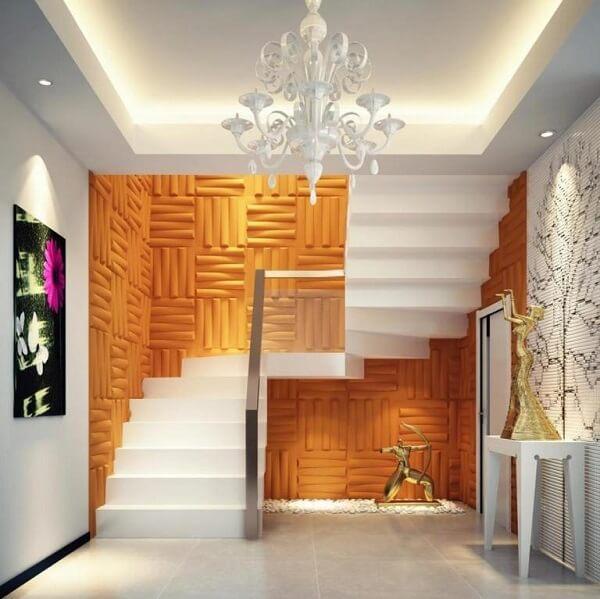 A placa decorativa 3d colorida decora o ambiente da casa
