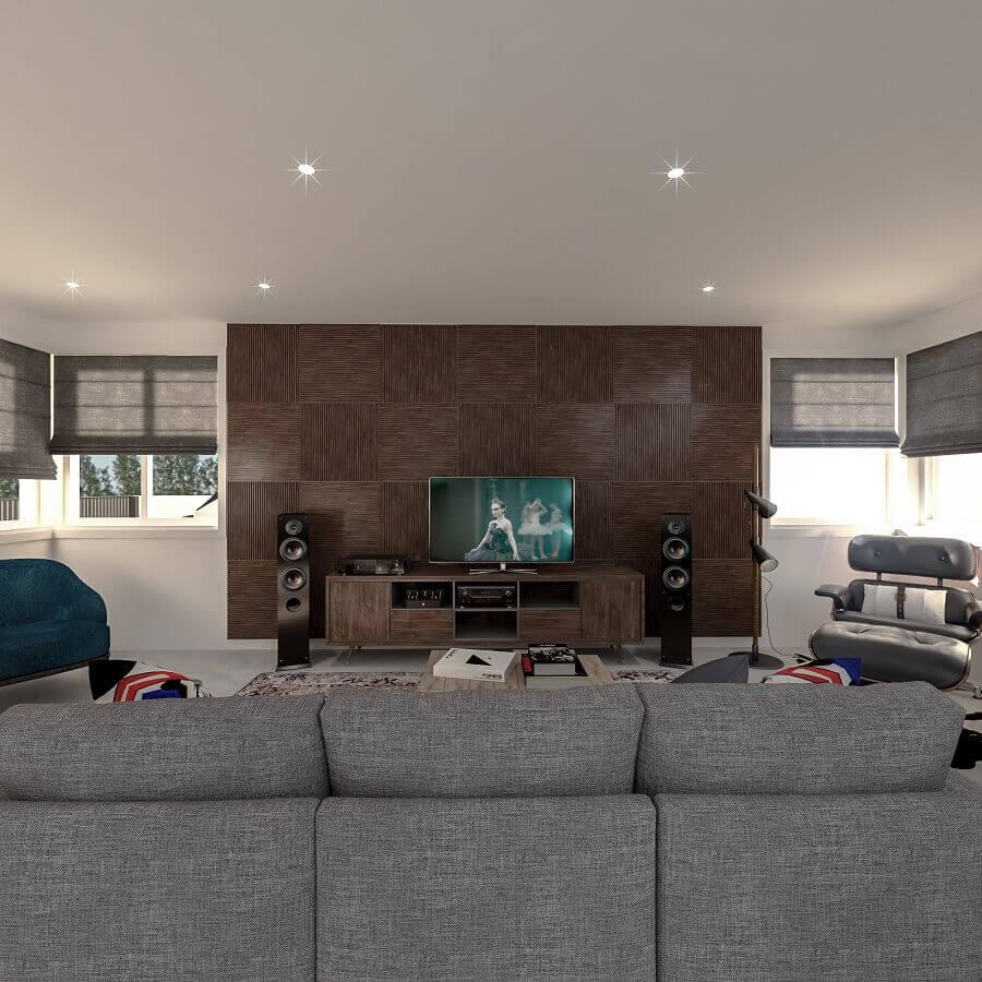 Decoração para sala de TV ampla e moderna Foto habitíssimo