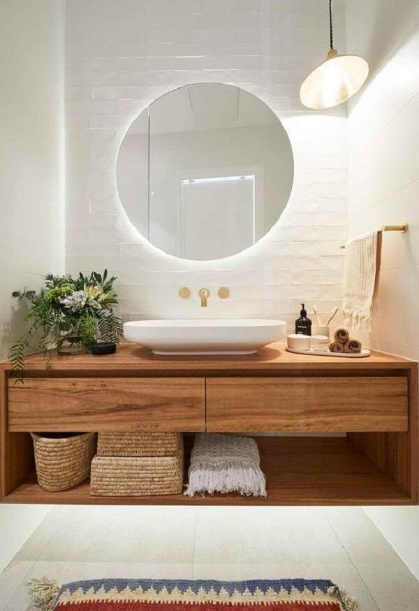 Espelho pequeno com led em formato redondo para banheiro