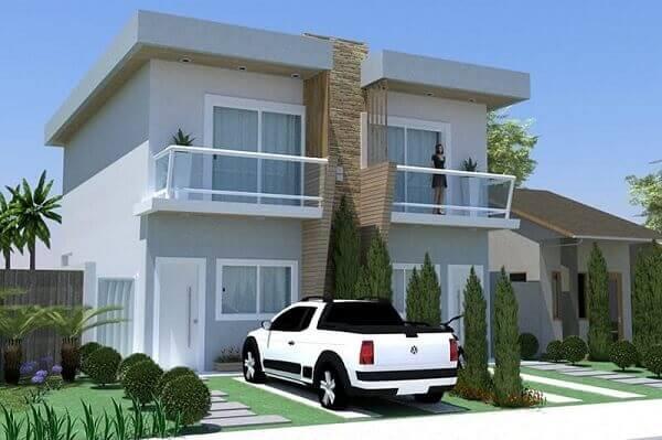 Modelos de casa germinada sobrado pequeno e simples sem muros e portões