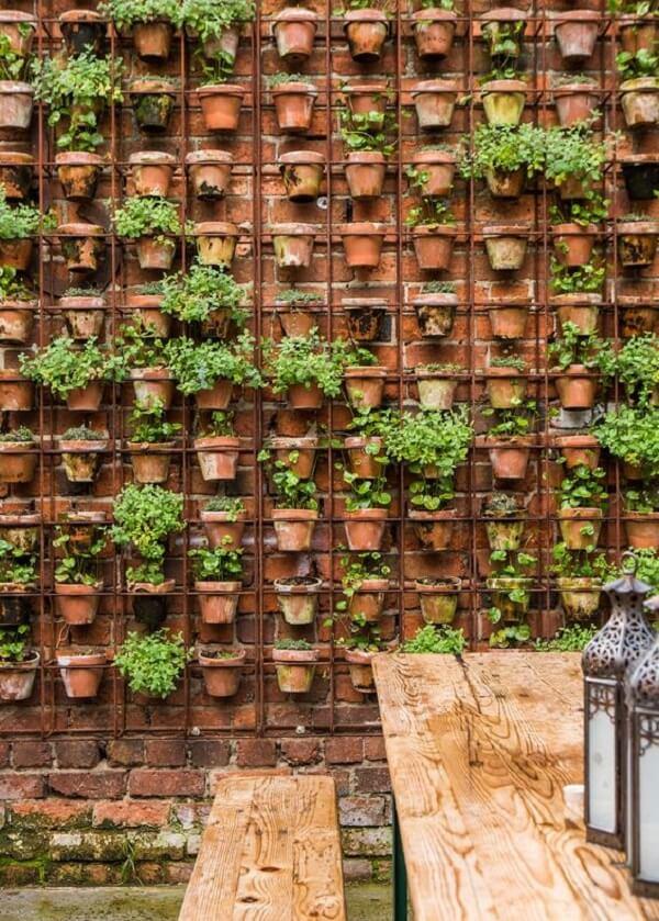 Muro de quintal decorado com diversos vasos de plantas
