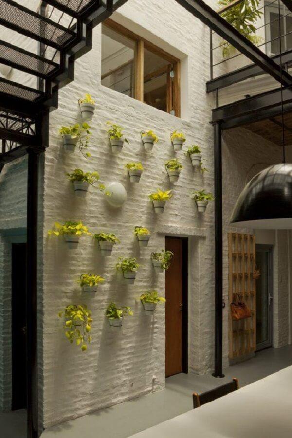 Muro interno decorado com vasos de plantas