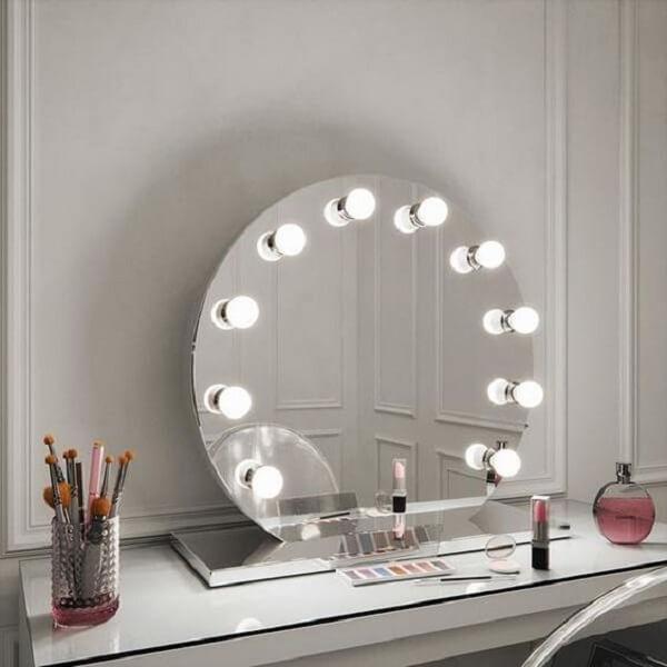 Penteadeira clean com espelho camarim com led