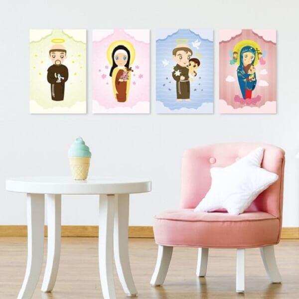 Placas decorativas em MDF com temática religiosa