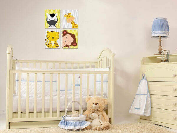 Placas decorativas infantil com desenho de animais para quarto de bebê