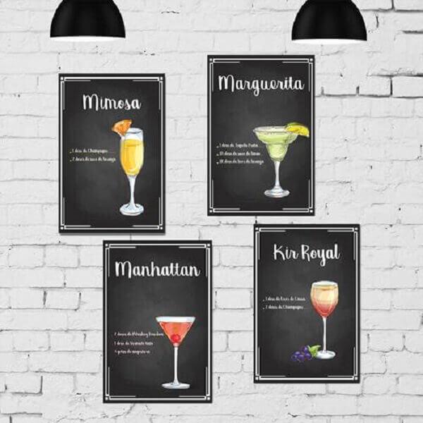 Placas decorativas para cozinha para quem é apaixonado por drinks