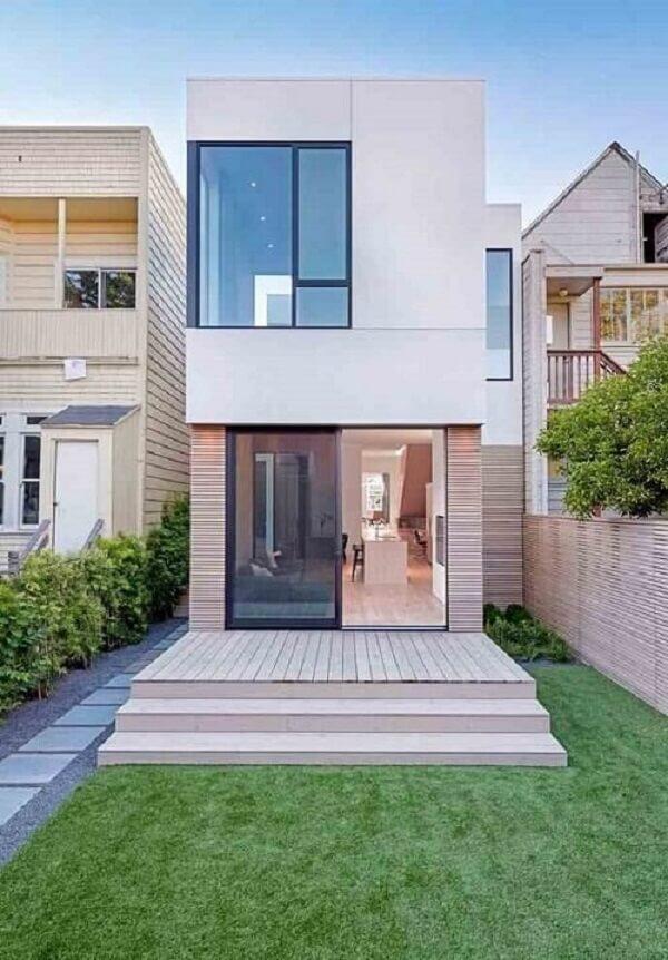 Projeto de casa moderna sobrado para terrenos estreitos
