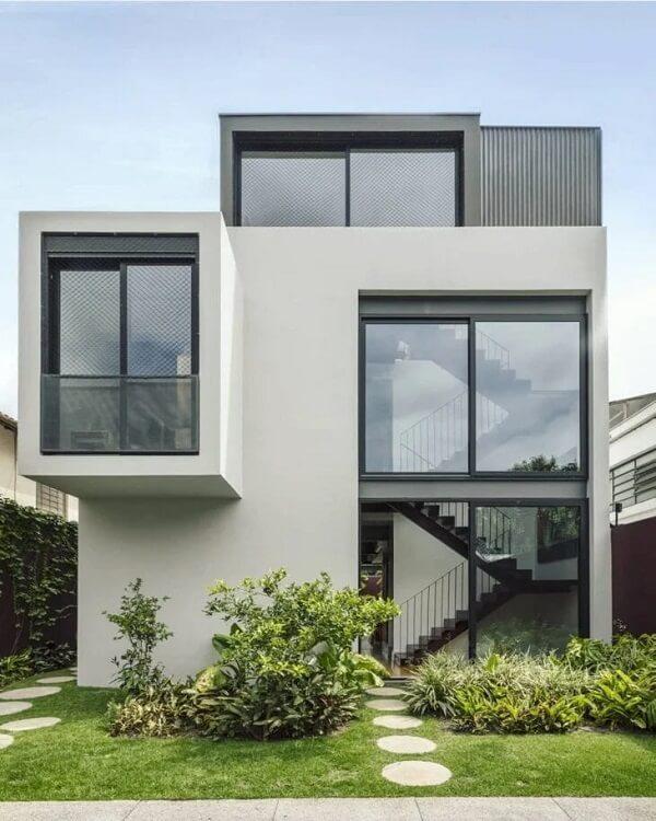 Projeto de casa sobrado com estrutura de vidro