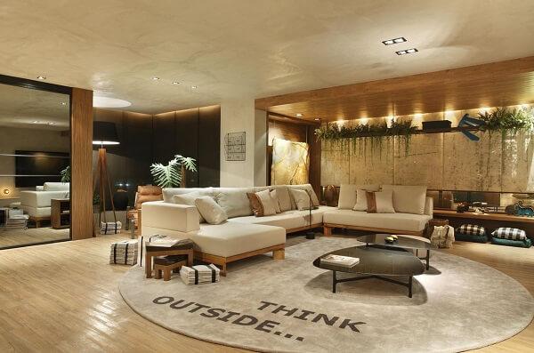 Tapete grande redondo para sala de estar