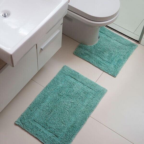 Kit de tapete para banheiro na cor verde