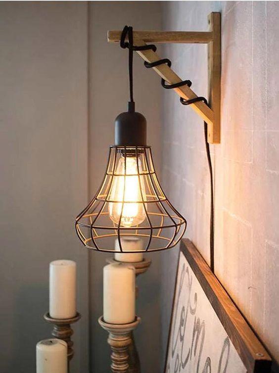 Arandela rústica criativa feito em DIY