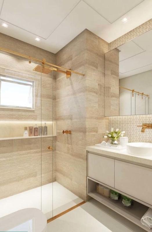 Banheiro amadeirado claro minimalista