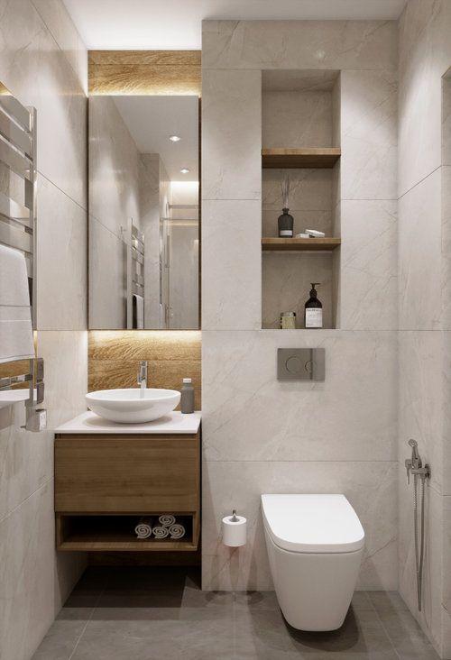 Banheiro amadeirado com branco