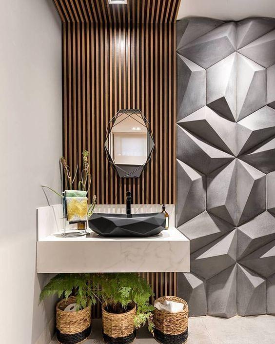 Banheiro amadeirado com revestimento 3D cinza
