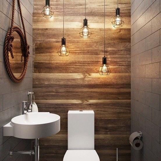Revestimento de madeira para lavabo