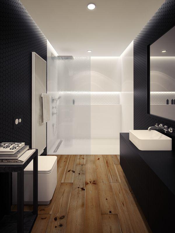Banheiro amadeirado preto