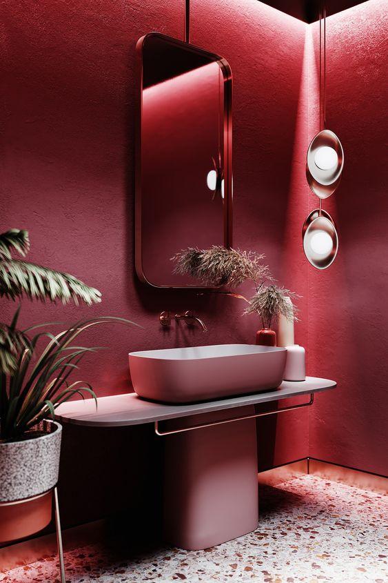 Banheiro pink moderno