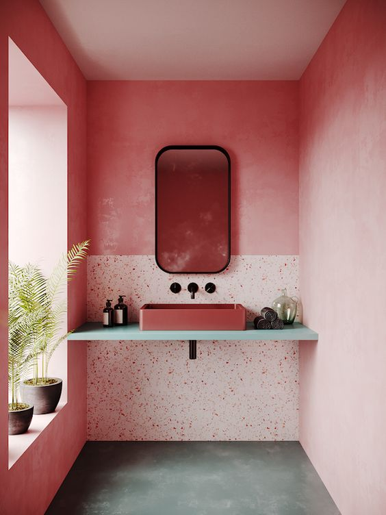Banheiro pink com mármore