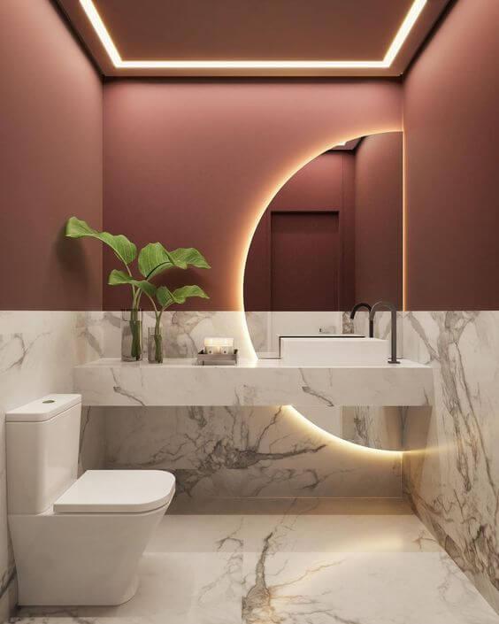Banheiro sem janela decorado com mármore