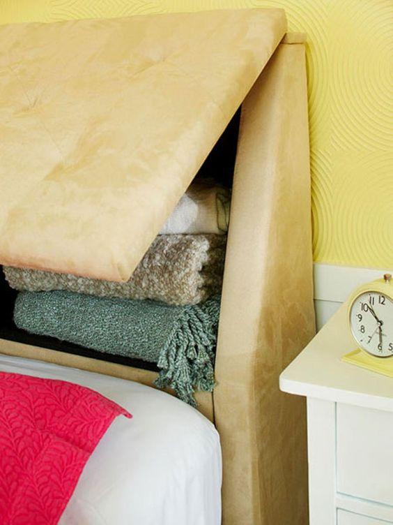 Cabeceira estofada com bau