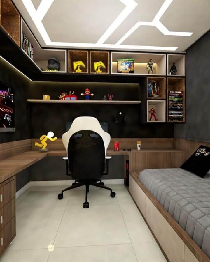 cadeira gamer para quarto com escrivaninha de canto Foto Arkpad