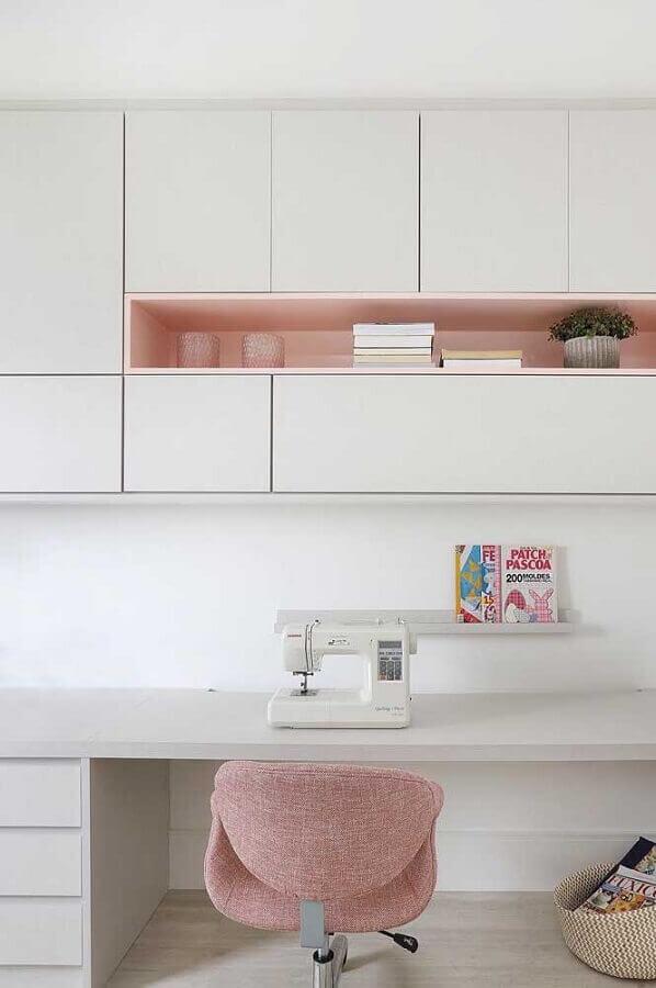 cores claras para home office branco e rosa Foto Pinterest