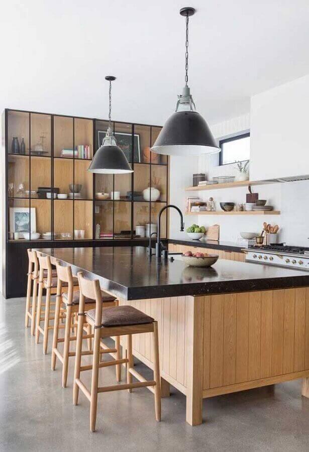 Revestimento para área gourmet com bancada moderna