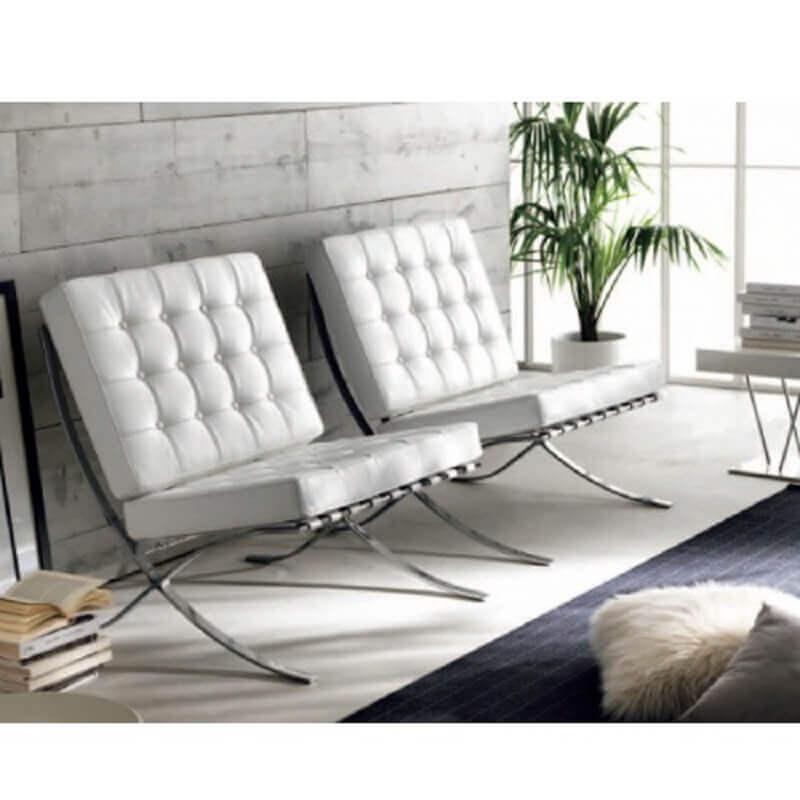 decoração clean com poltrona de couro branco barcelona Foto Pinterest