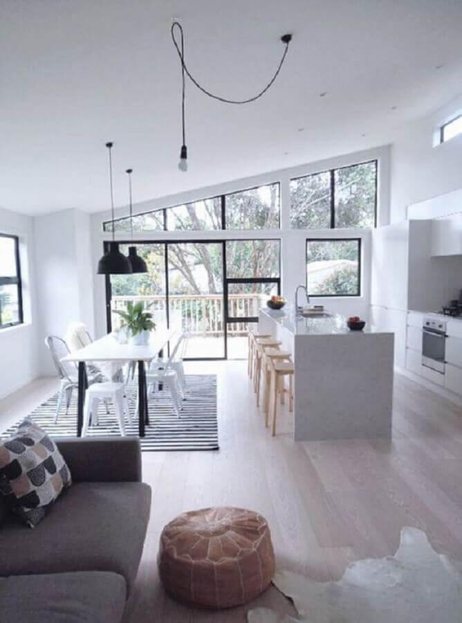 decoração clean para casa em conceito aberto grande Foto Pinterest