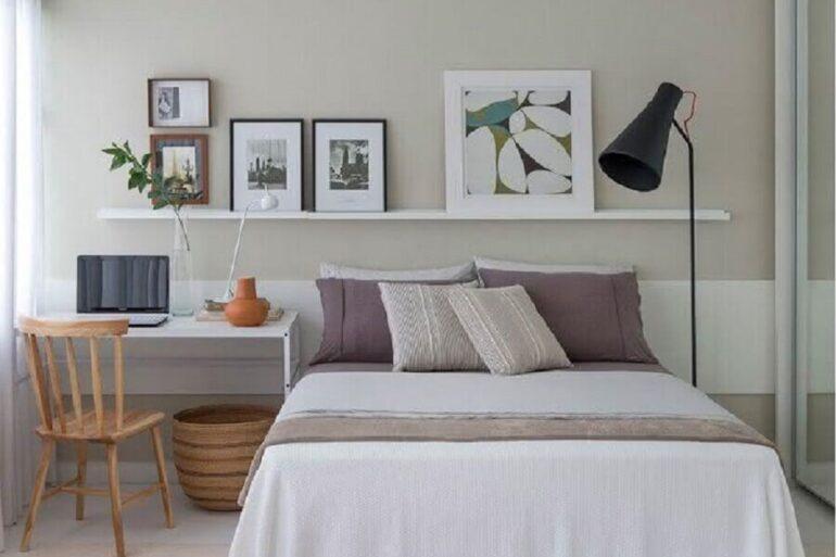 decoração clean para quarto de casal com escrivaninha branca Foto Eu Decoro