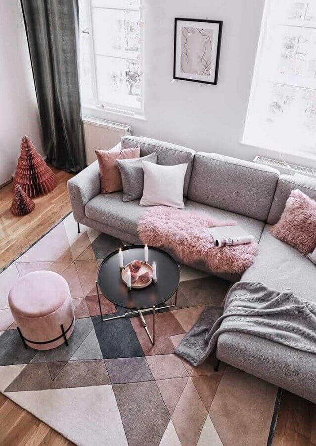 Decoração com tapete para sala cinza