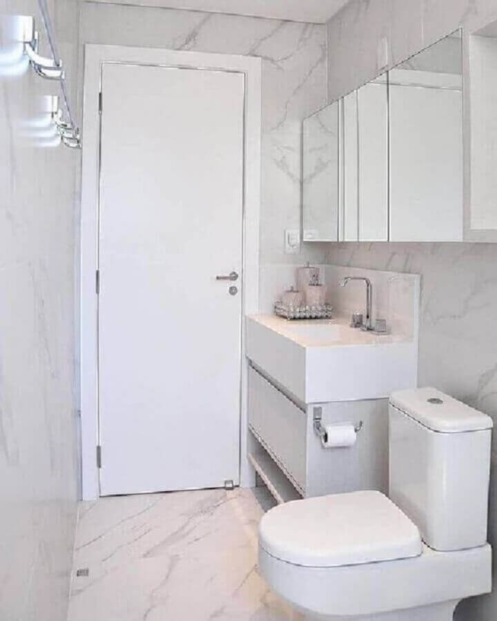 decoração de banheiro simples e pequeno todo branco Foto Pinterest