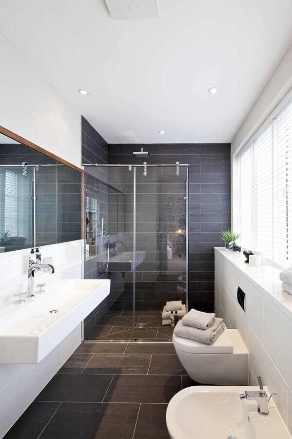 decoração de banheiro simples preto e branco Foto Pinterest