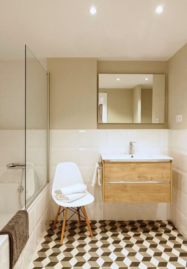 decoração em cores neutras para banheiro simples com gabinete suspenso de madeira Foto Simples Decoração