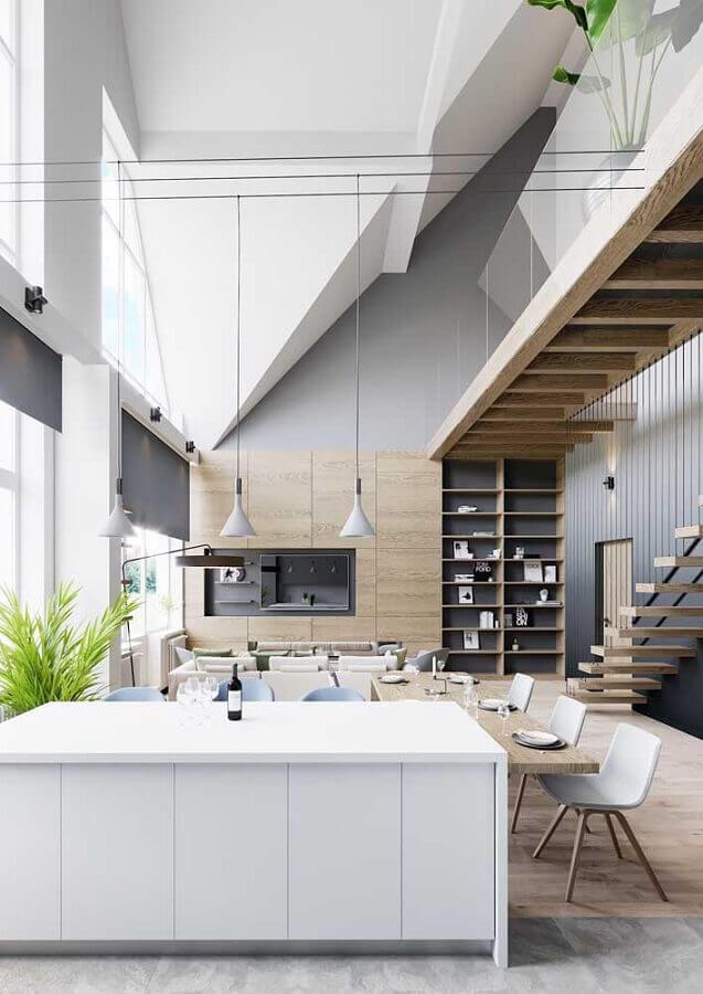 decoração moderna de casa conceito aberto ampla Foto ArchDaily