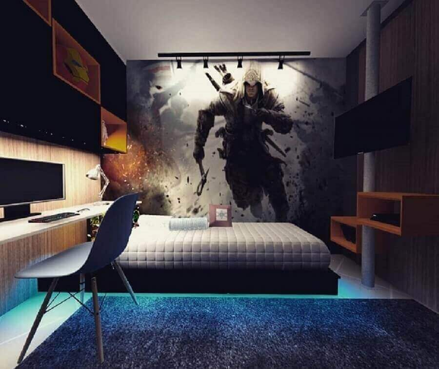 decoração moderna para quarto de solteiro com escrivaninha Foto Alessiana Benevides
