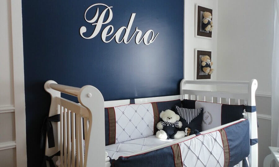 decoração quarto de bebê masculino azul marinho e branco Foto Pinterest